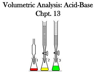Volumetric Analysis: Acid-Base Chpt. 13