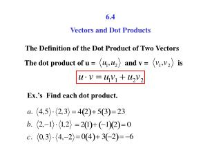 6.4 Vectors and Dot Products