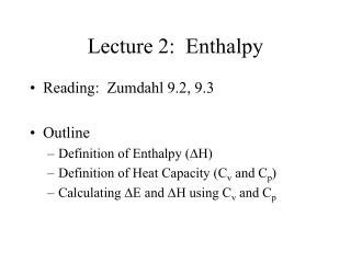 Lecture 2:  Enthalpy