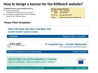 A B2Match banner can be drafted either by