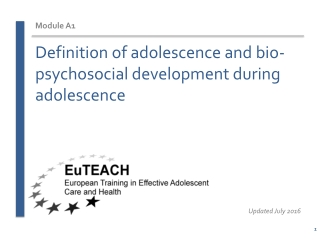 Definition of adolescence and bio-psychosocial development during adolescence