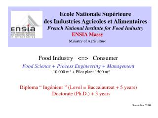 Ecole Nationale Supérieure desIndustries Agricoles etAlimentaires French National Institute for Food Industry ENSIA
