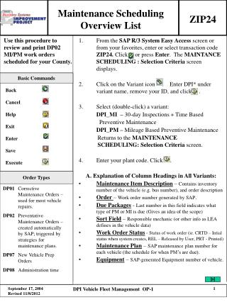 Maintenance Scheduling Overview List