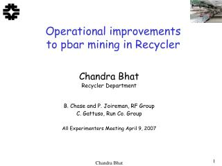 Operational improvements to pbar mining in Recycler