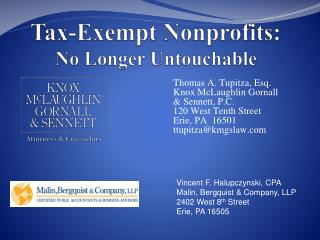 Tax-Exempt Nonprofits: No Longer Untouchable