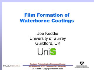 Film Formation of  Waterborne Coatings