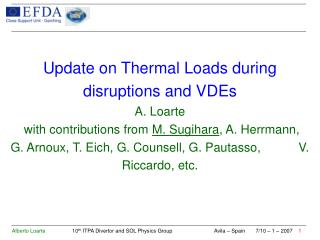Specification of ITER disruption/VDE Thermal  Loads