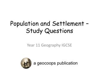 Population and Settlement – Study Questions