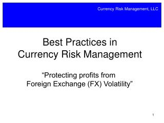 Best Practices in Currency Risk Management
