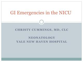 GI Emergencies in the NICU