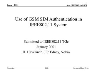 Use of GSM SIM Authentication in IEEE802.11 System
