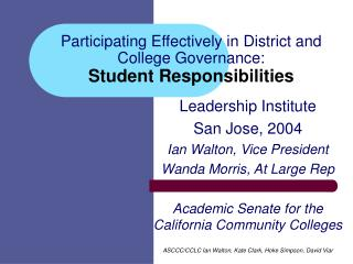 Participating Effectively in District and College Governance:   Student Responsibilities