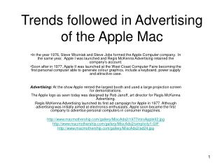 Trends followed in Advertising of the Apple Mac