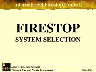 FIRESTOP SYSTEM SELECTION