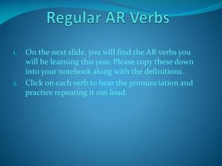 Regular AR Verbs
