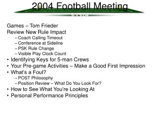 2004 Football Meeting 9/15/04