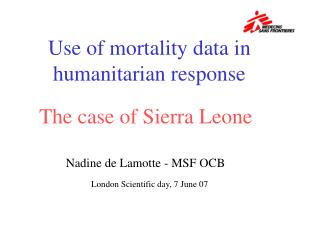 Use of mortality data in humanitarian response