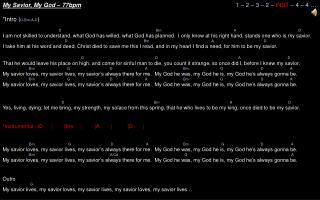 My Savior, My God – 77bpm 1 – 2 – 3 – 2 – INST – 4 – 4 … *Intro ( D-Bm-A-D )