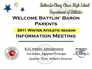 Welcome Battlin' Baron Parents Information Meeting