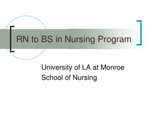 RN to BS in Nursing Program