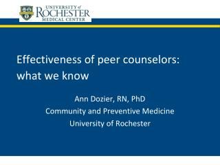 Effectiveness of peer counselors:  what we know