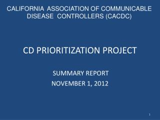 CD PRIORITIZATION PROJECT