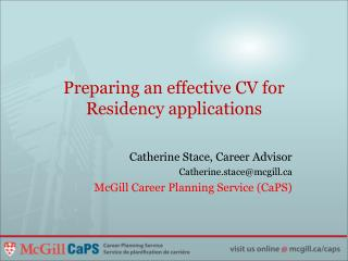 Preparing an effective CV for Residency applications