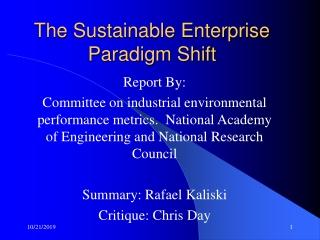 The Sustainable Enterprise Paradigm Shift