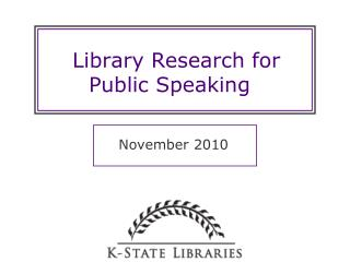 Library Research for Public Speaking