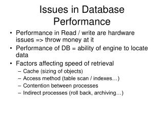 Issues in Database Performance