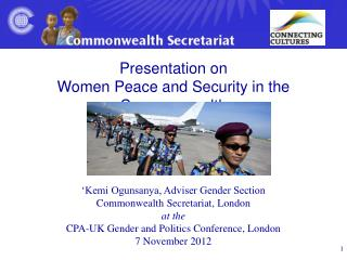 Presentation on  Women Peace and Security in the Commonwealth