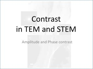 Contrast  in TEM and STEM