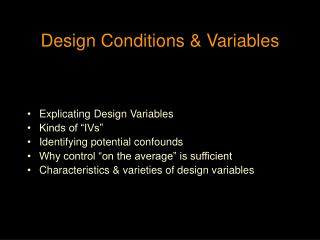 Design Conditions & Variables