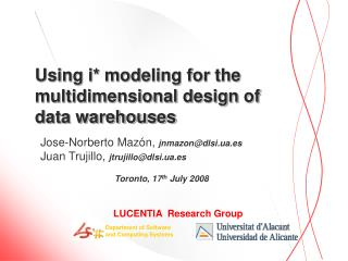 Using i* modeling for the multidimensional design of data warehouses