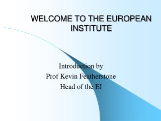 WELCOME TO THE EUROPEAN INSTITUTE