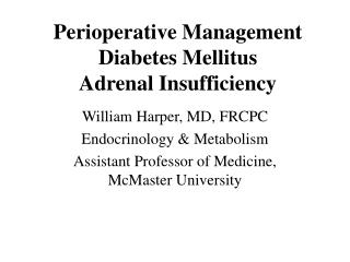 Perioperative Management Diabetes Mellitus Adrenal Insufficiency