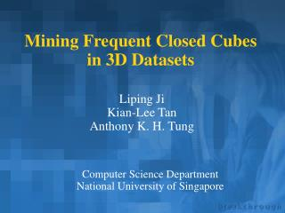 Mining Frequent Closed Cubes in 3D Datasets