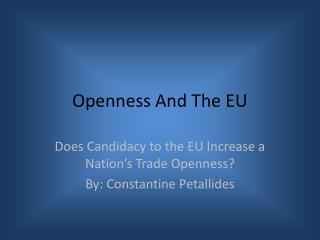 Openness And The EU