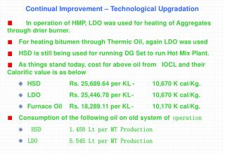 Continual Improvement – Technological Upgradation