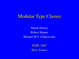 Modular Type Classes