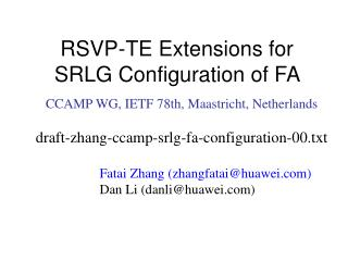 RSVP-TE Extensions for SRLG Configuration of FA