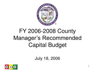 FY 2006-2008 County Manager's Recommended Capital Budget