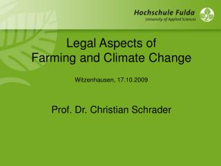 Legal Aspects of  Farming and Climate Change