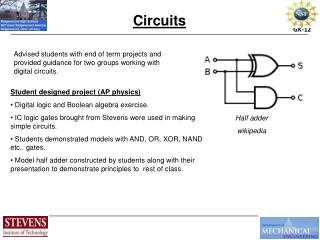Student designed project (AP physics)  Digital logic and Boolean algebra exercise.