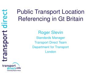 Public Transport Location Referencing in Gt Britain