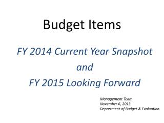 Budget Items