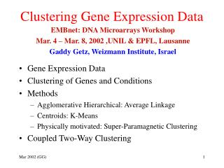 Clustering Gene Expression Data