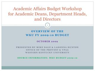 Academic Affairs Budget Workshop for Academic Deans, Department Heads, and Directors