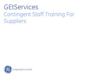 GEtServices  Contingent Staff Training For Suppliers