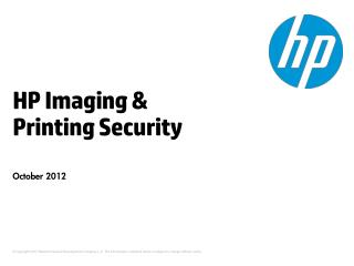 HP Imaging & Printing Security